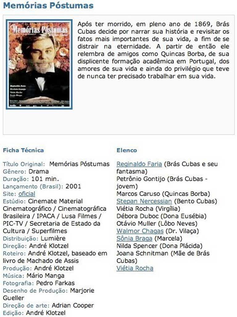Filme Memórias Póstumas com Reginaldo Farias - Fazenda Vargem Grande - SP