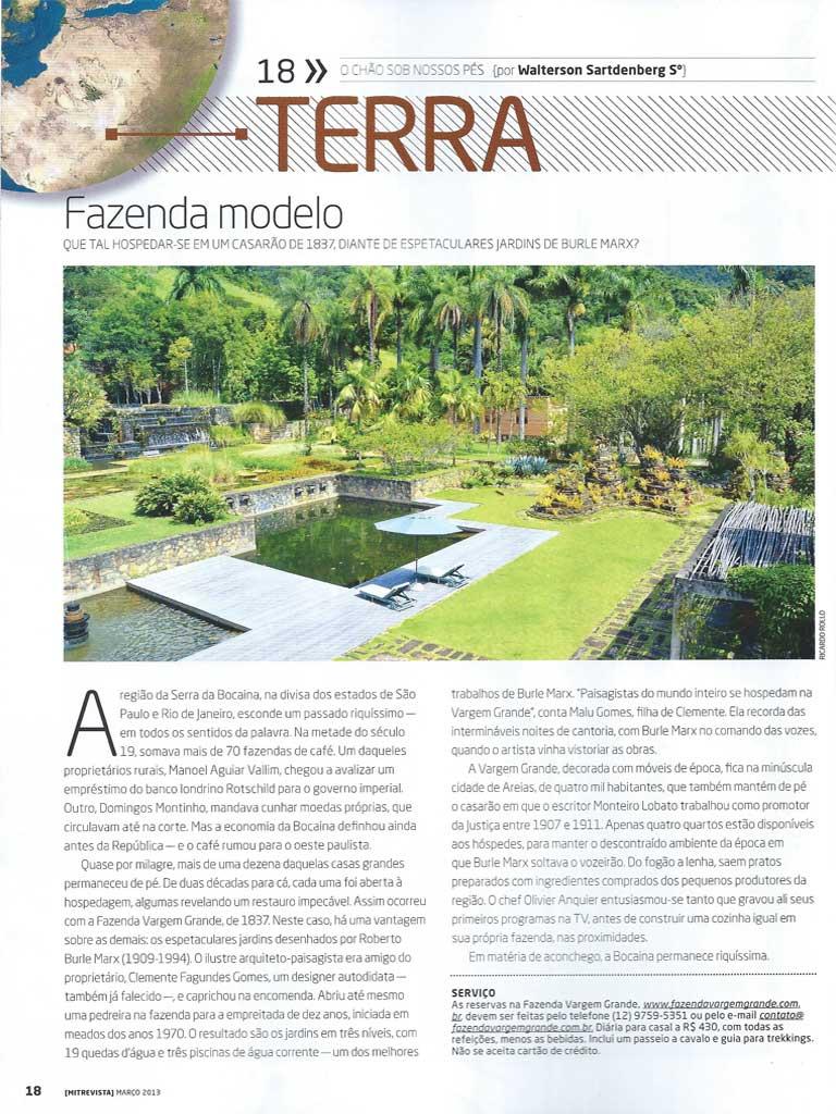 Matéria publicada na revista MIT - Fazenda Vargem Grande - Areias-SP